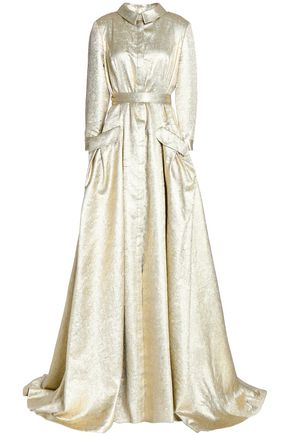 CAROLINA HERRERA Metallic silk-blend jacquard gown