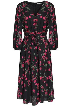 ALICE+OLIVIA Coco wrap-effect floral-print crepe de chine dress