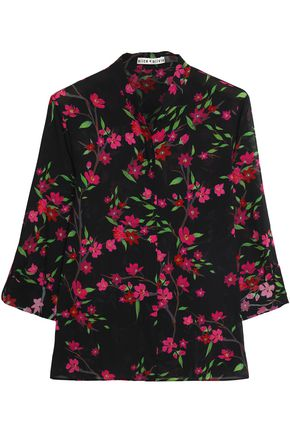 ALICE + OLIVIA Floral-print stretch-silk shirt