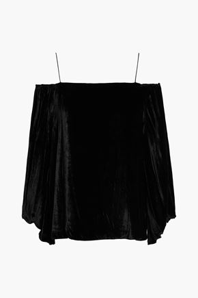 ALICE + OLIVIA JEANS Off-the-shoulder draped chenille blouse