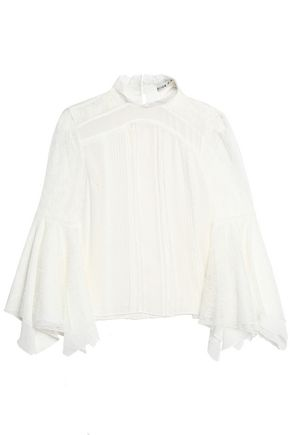 ALICE + OLIVIA Lace-paneled pintucked silk-crepon turtleneck top