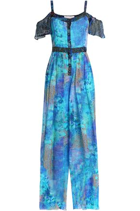 MATTHEW WILLIAMSON Cold-shoulder printed silk jumpsuit
