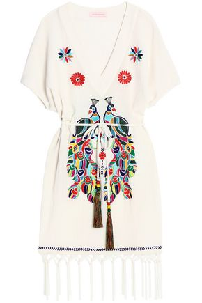 MATTHEW WILLIAMSON Fringed embroidered cotton-gauze mini dress