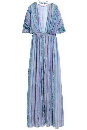 MATTHEW WILLIAMSON Ruffle-trimmed printed silk-chiffon maxi dress