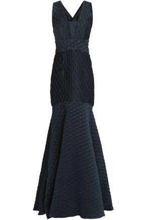 MILLY Fluted embossed cloqué gown