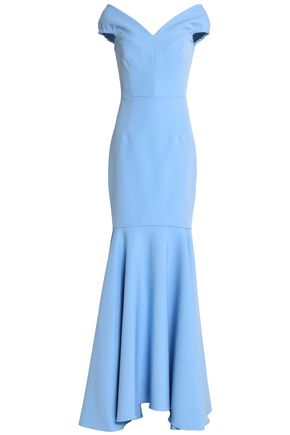 MILLY Fluted crepe gown