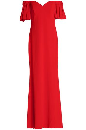 BADGLEY MISCHKA Off-the-shoulder pleated crepe gown