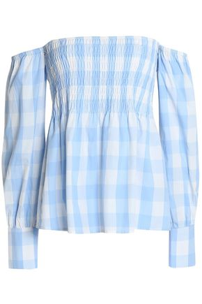 W118 by WALTER BAKER Off-the-shoulder checked shirred cotton top