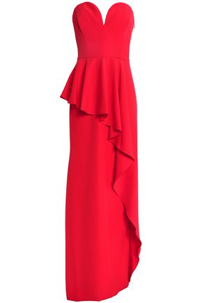 MILLY Layered ruffled crepe peplum gown