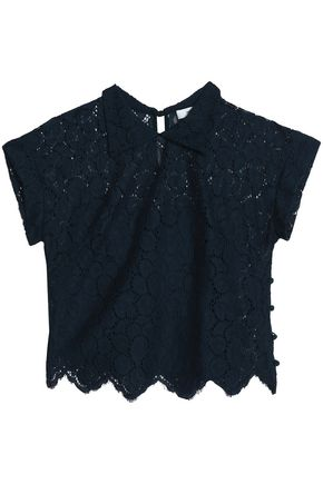 MILLY Cotton-blend corded lace top