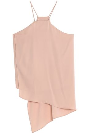 MILLY Asymmetric stretch-silk camisole