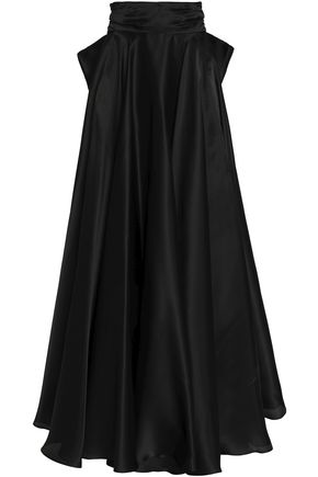 MILLY Bow-detailed silk-satin maxi skirt