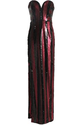 MILLY Strapless sequinned striped gown