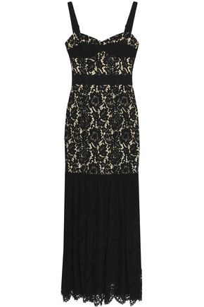MILLY Grosgrain-trimmed fluted corded lace gown