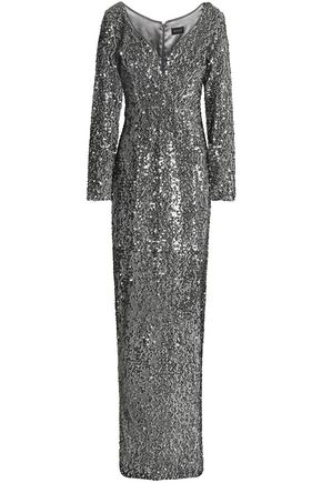 MILLY Suzana sequined brushed-satin gown