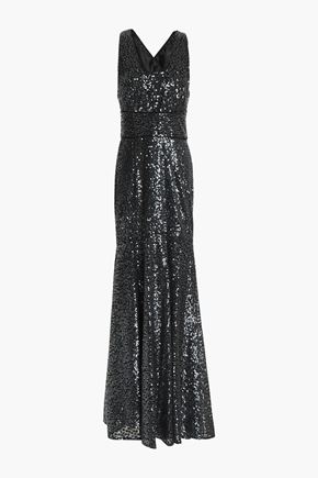 MILLY Sequinned satin gown