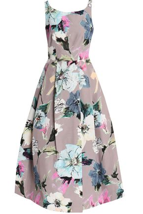 MILLY Pleated floral-print cotton-blend cady midi dress