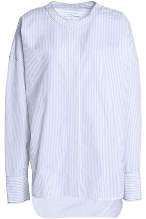 SANDRO Striped cotton-poplin top