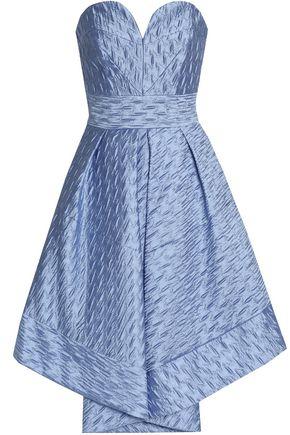 MILLY Strapless pleated cloqué-satin dress