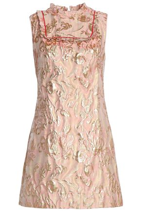 SANDRO Paris Pleated brocade mini dress