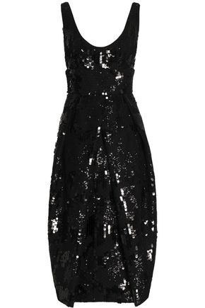 MILLY Sequinned tulle midi dress
