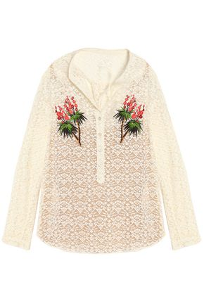 STELLA McCARTNEY Embroidered cotton-blend lace top