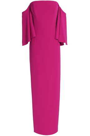 MILLY Off-the-shoulder crepe gown