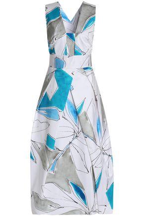 MILLY Elisa pleated printed cotton-blend midi dress