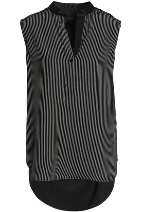 RAG & BONE Paneled pinstriped silk top