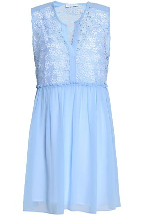 SANDRO Paris Pleated guipure lace and chiffon mini dress