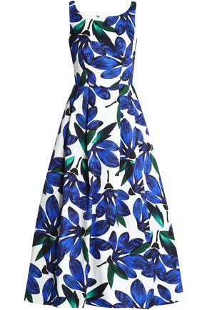 MILLY Tea floral-print cotton-blend faille midi dress