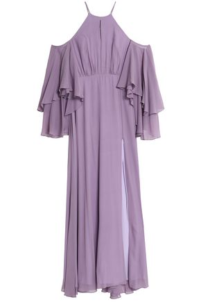 MILLY Cold-shoulder silk-chiffon gown