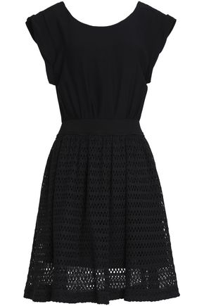 SANDRO Paris Cindy tie-back crepe and crochet-knit dress