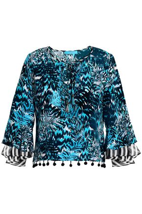 MATTHEW WILLIAMSON Pompom-trimmed printed silk top