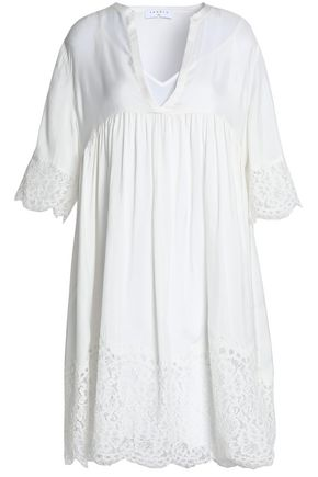 SANDRO Paris Corded lace-paneled gathered cupro dress