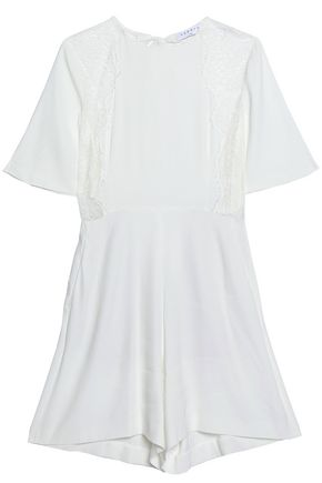 SANDRO Paris Open-back lace-trimmed crepe-satin playsuit
