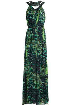 MATTHEW WILLIAMSON Belted embellished printed silk-chiffon gown
