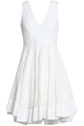 SANDRO Paris Bliss gathered crochet-knit mini dress
