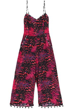 MATTHEW WILLIAMSON Cropped pompom-trimmed printed silk jumpsuit