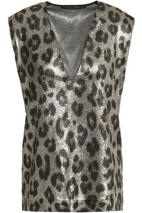 HAIDER ACKERMANN Metallic leopard-print silk-blend top