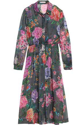 MATTHEW WILLIAMSON Pleated floral-print silk-chiffon midi shirt dress