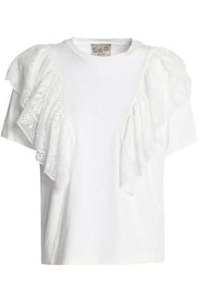 SEA Ruffled broderie anglaise-paneled cotton-jersey T-shirt