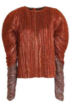 HAIDER ACKERMANN Plissé silk-blend lamé blouse