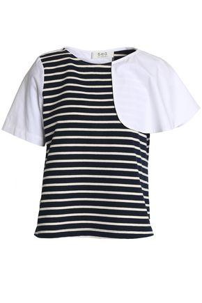SEA Paneled striped jersey and cotton-poplin top