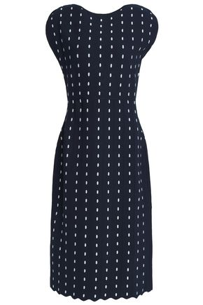 LELA ROSE Scalloped jacquard-knit dress
