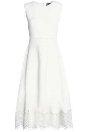 LELA ROSE Guipure lace-paneled ponte dress