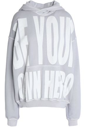 HAIDER ACKERMANN Oversized printed cotton-terry hooded sweatshirt