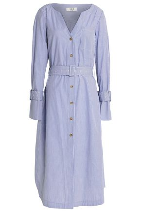 SEA Belted striped cotton-poplin midi shirt dress