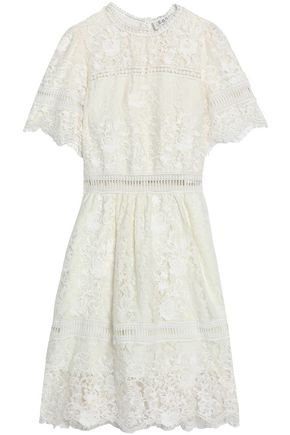 SEA Embroidered guipure lace cotton-blend dress