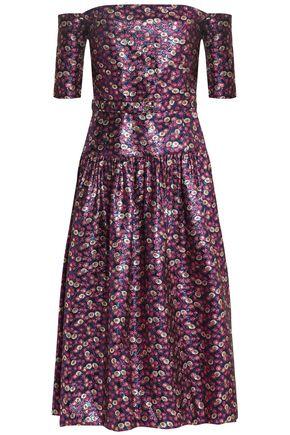SEA Off-the-shoulder brocade midi dress